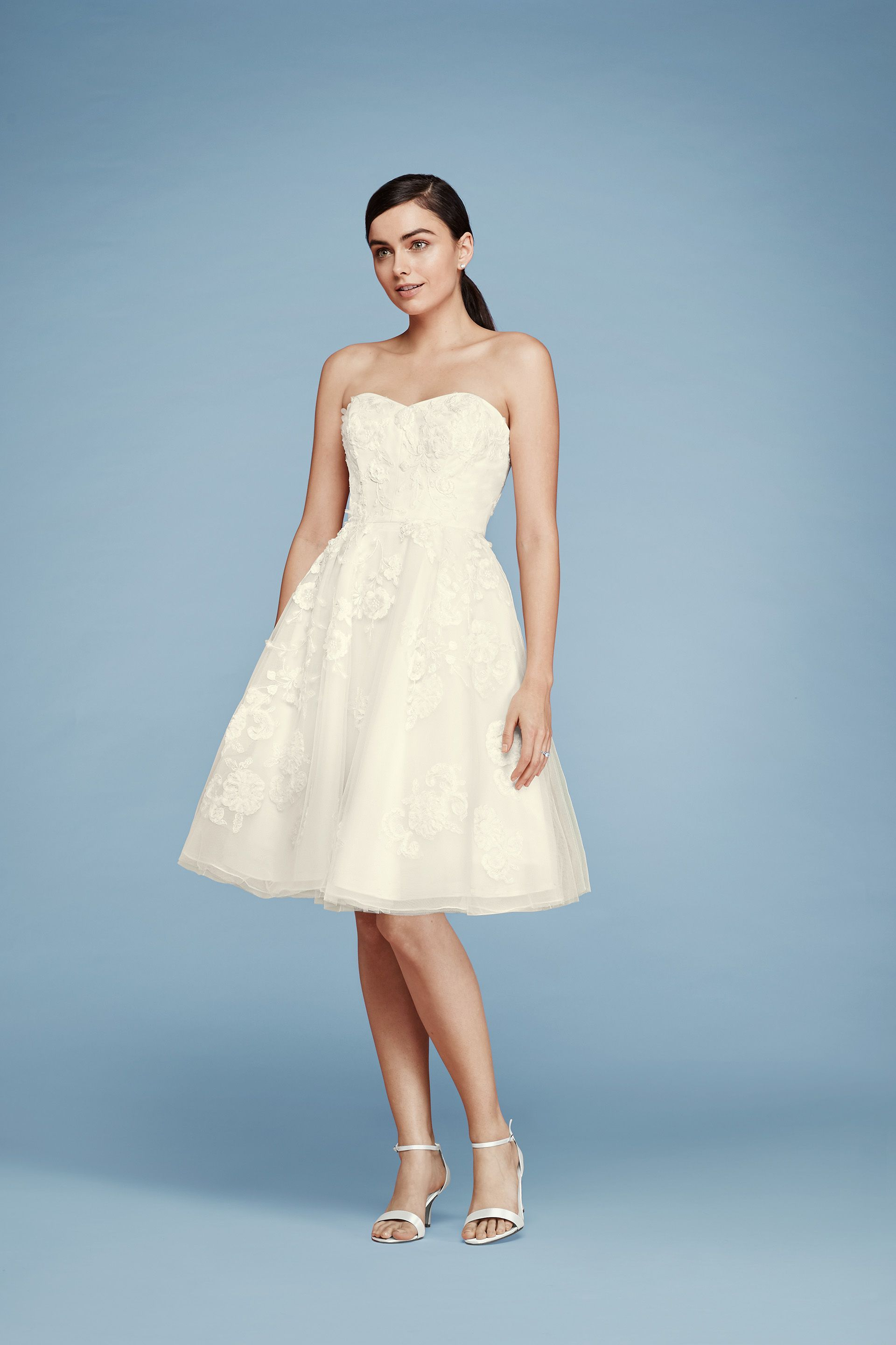 Cheers Cynthia Rowley Short Lace Strapless Wedding Dress | Beautiful ...