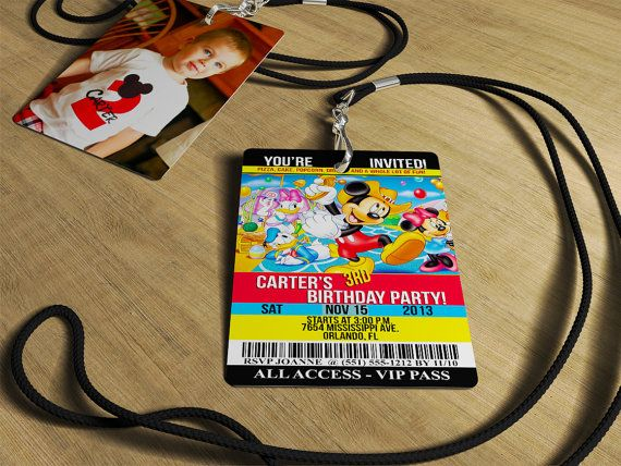 Mickey Mouse Invitations -  Birthday VIP Invitations Actual PVC Cards with Lanyards  (Click Quantity Below for Additional Pricing) on Etsy, $41.25