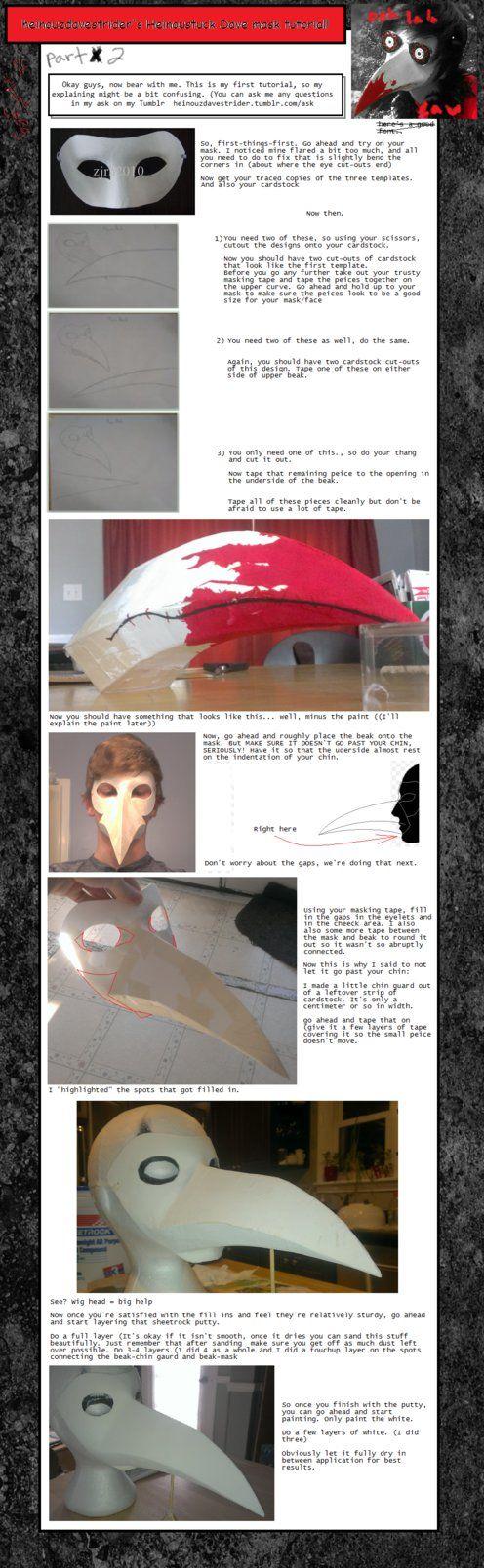 Heinoustuck Dave Strider Bird/Plague Mask Tutorial by