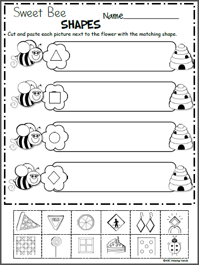 sweet bee shapes free kindergarten shapes worksheet kindergarten math kindergarten math. Black Bedroom Furniture Sets. Home Design Ideas