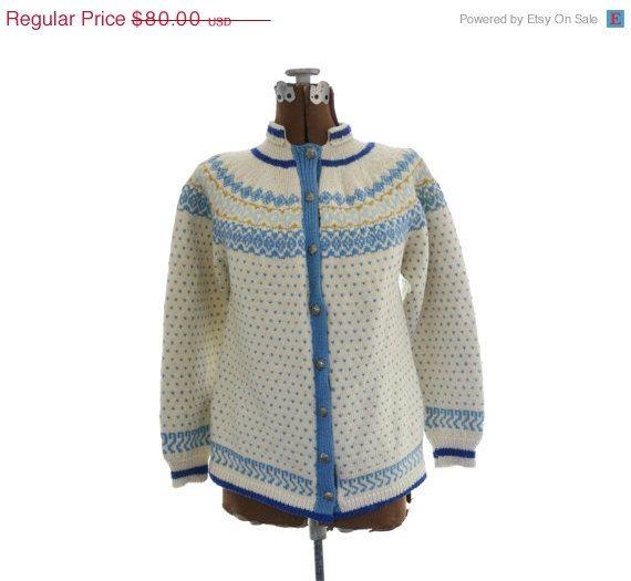 50% OFF SALE 1950s 1960s Fair Isle Sweater Cardigan   Vintage hand ...