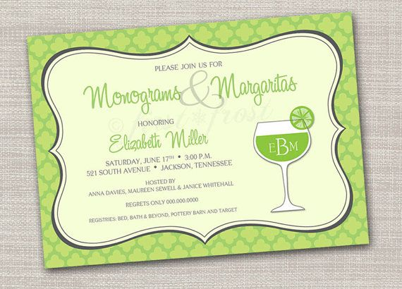 monograms and margaritas printable card wedding bridal shower tea luncheon