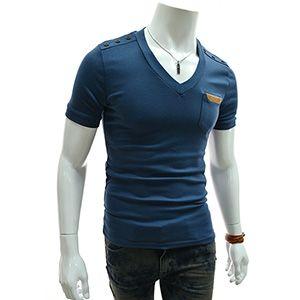 (TCVS02-NAVY) Slim Leather Patched Pocket Shoulder Button Short Sleeve V-neck Tshirts
