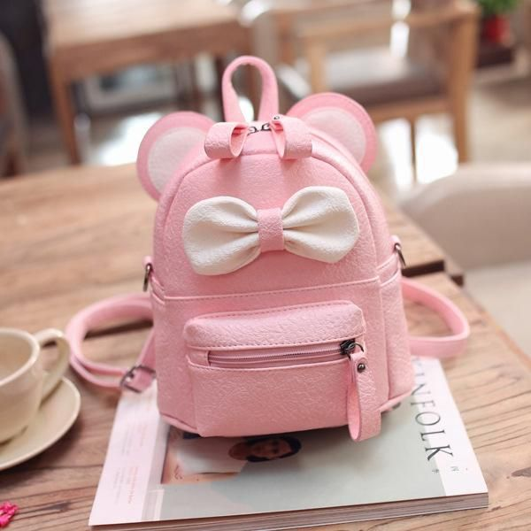 4b5d3b9b277e Mini Women Backpack Lady Cute Pu Leather School Backpack Fresh Bow Animal  Pink Mouse Small Children Teenager Bag for Girls
