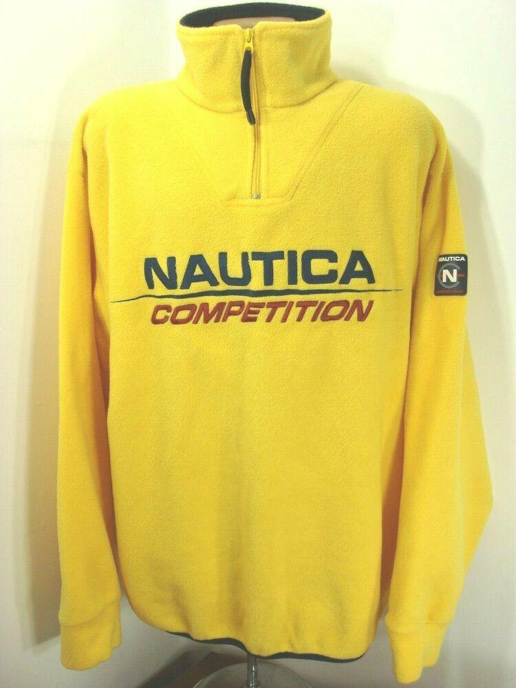 Vintage 90s Nautica Competition Spelled Out Yellow 1 4 Zip Fleece Jacket Xl Usa Nautica 14zipjacket Cool Coats Fleece Jacket Jackets
