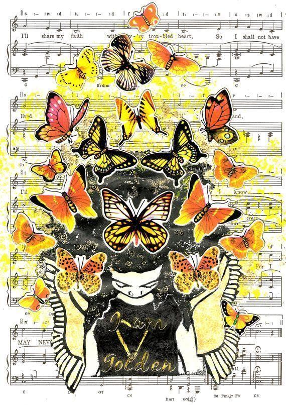 Butterfly Art Print - Butterfly Art Gift - Music Art - Afro Girl Art  - Natural ... -  Butterfly Ar