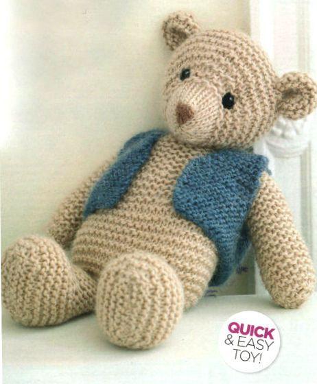 Easy Beginner Garter Stitch Toy Teddy Bear 35cm Chunky Wool