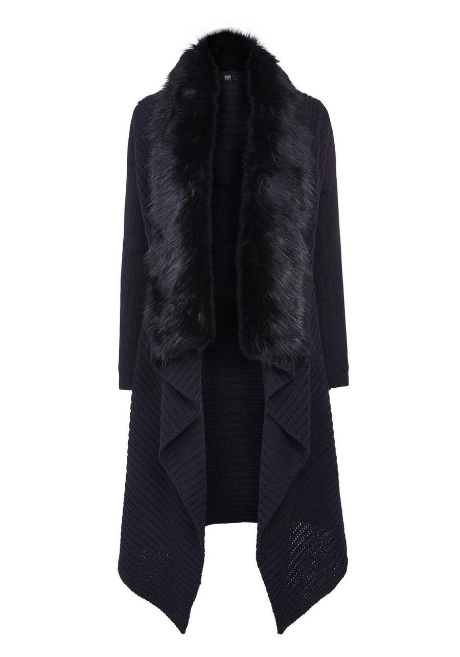 Clothing at Tesco | F&F Faux Fur Trim Waterfall Cardigan - Navy ...