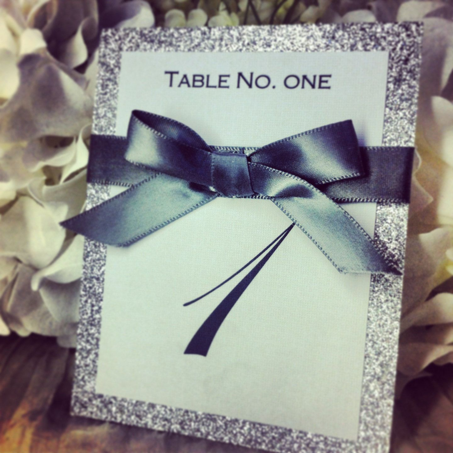 Silver ribbon & glitter table number great for by VPElegance, $3.00