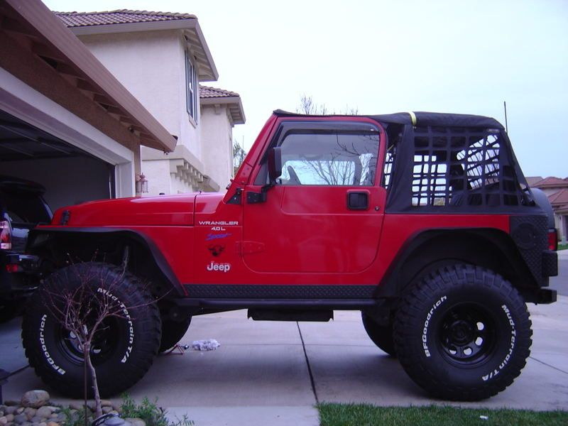 Red Jeep Wrangler With 2 Inch Body Lift 2 Inch Suspension Lift