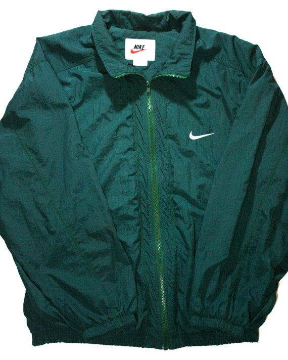 Vintage 90s Nike Green Windbreaker Jacket available at VintageMensGoods,  $36.00