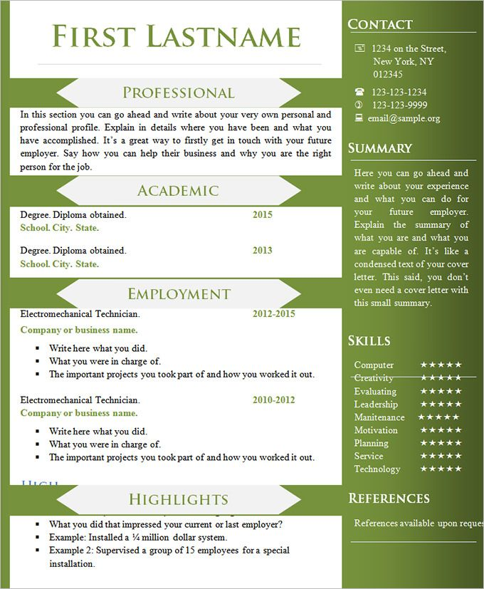 word resume template in different language