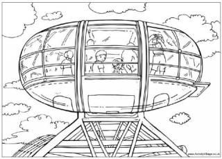 London Eye Colouring Page