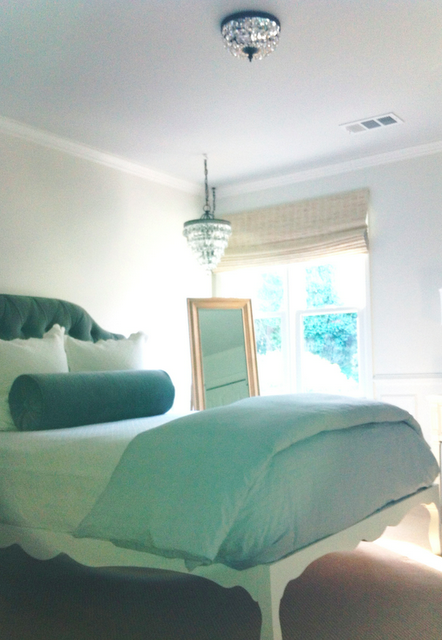 my e-designed French bedroom with crystal lighting fixtures
