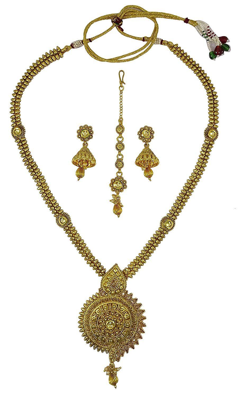 Matra indian traditional goldtone necklace set women ethnic