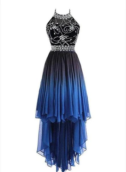 Beautiful Beaded High Low Chiffon Gradient Party Dress, Blue Homecoming Dress