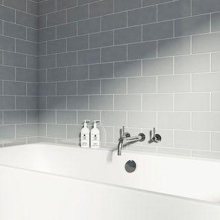 British Ceramic Tile Metro flat cloud grey gloss tile 100mm x 200mm ...