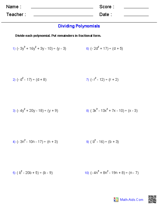Dividing Polynomials Worksheets   Math-Aids.Com ...