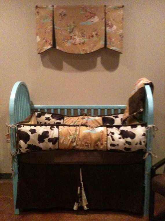 Items Similar To Vintage Cowboy Western Baby Bedding With Cow Print On Etsy