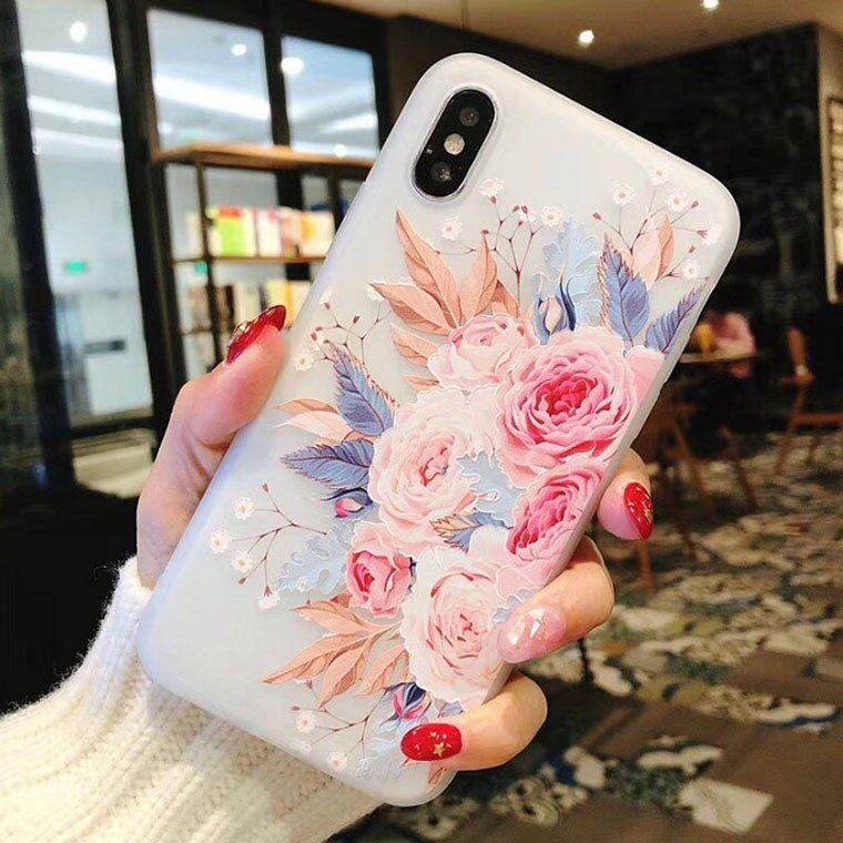 Funda De Teléfono De Silicona De Flor Uslion Para Iphone 7 8 Plus Xs Max Xr Rose Floral Fundas Para Ip Fundas De Silicona Para Iphone Fundas Para Iphone Fundas