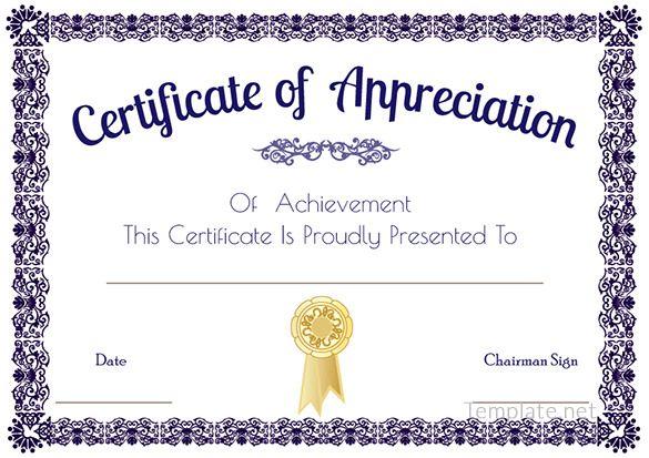 Certificate Of Appreciation Template Certificate Of Appreciation Certificate Of Recognition Template Certificate Of Appreciation Printable Certificates