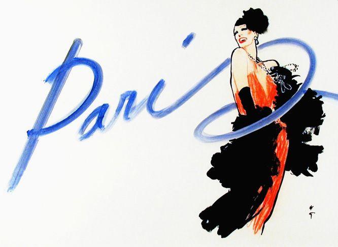 """Paris"" for French Vogue, 1984   by René Gruau"
