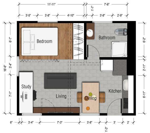 Feel Bigger In A 600 Square Foot Studio Apartment Small Apartment Plans Small Apartment Floor Plans Studio Apartment Plan