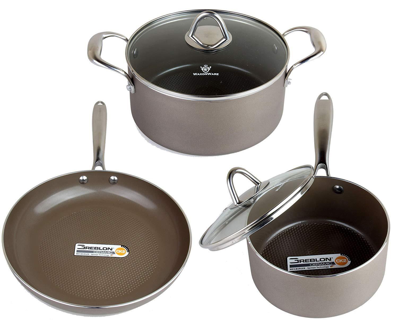 Waxonware Hive Nonstick Cookware Set 5 Pcs Pots And Pans Set