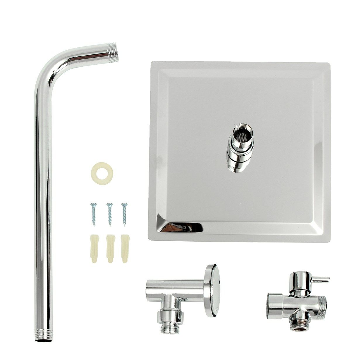 G1 2 Square Chrome Bathroom Ultrathin 8 Inch Shower Head Stainless Steel Shower Arm 3 Ways T Adapter Fauc Shower Diverter Shower Heads Shower Head Extension