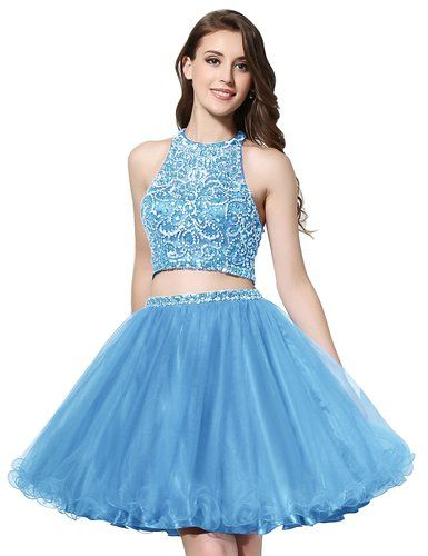 55d12f281d Belle House Women s A Line Short Tulle Homecoming Dress Two Pieces Prom Gown  at Amazon Women s Clothing store