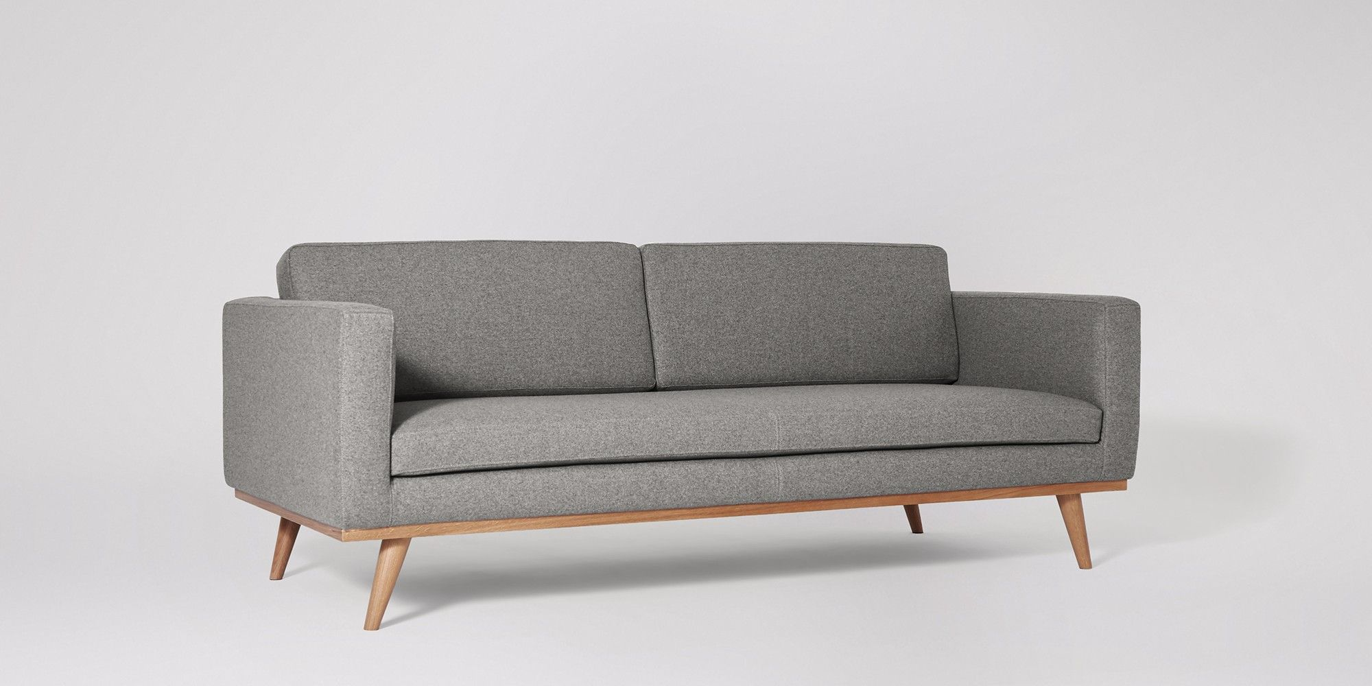Swoon Editions Three-seater sofa, mid-century style in Granite - £729