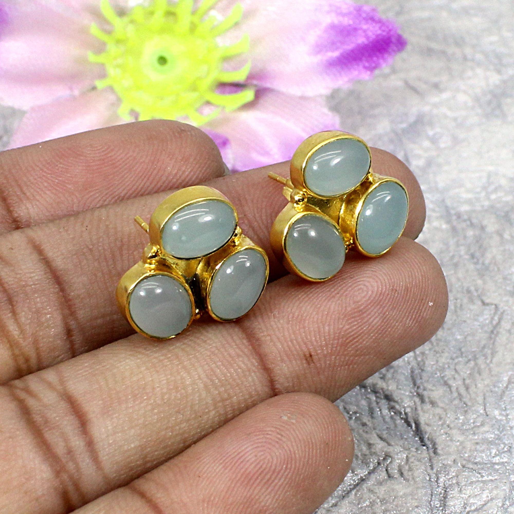 Aqua Chalcedony Gift Tourmaline Aqua Chalcedony and Tourmaline Earrings Gemstone Earrings