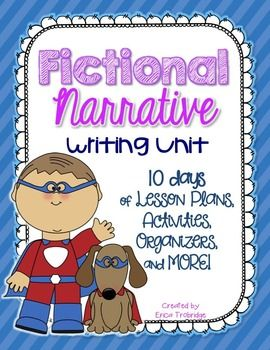 This Fictional Narrative writing unit contains ten detailed lesson plans, corresponding writing goal posters, activities aligned with lessons, and various other writing tools. This is a great unit to teach after Personal Narratives, when students are ready (and begging!) to try their creative writing skills.Be sure to check out the product preview to take a peek at this unit.You can also check out my other reading and writing units here:Launching the Writing Process {The First Narrative…