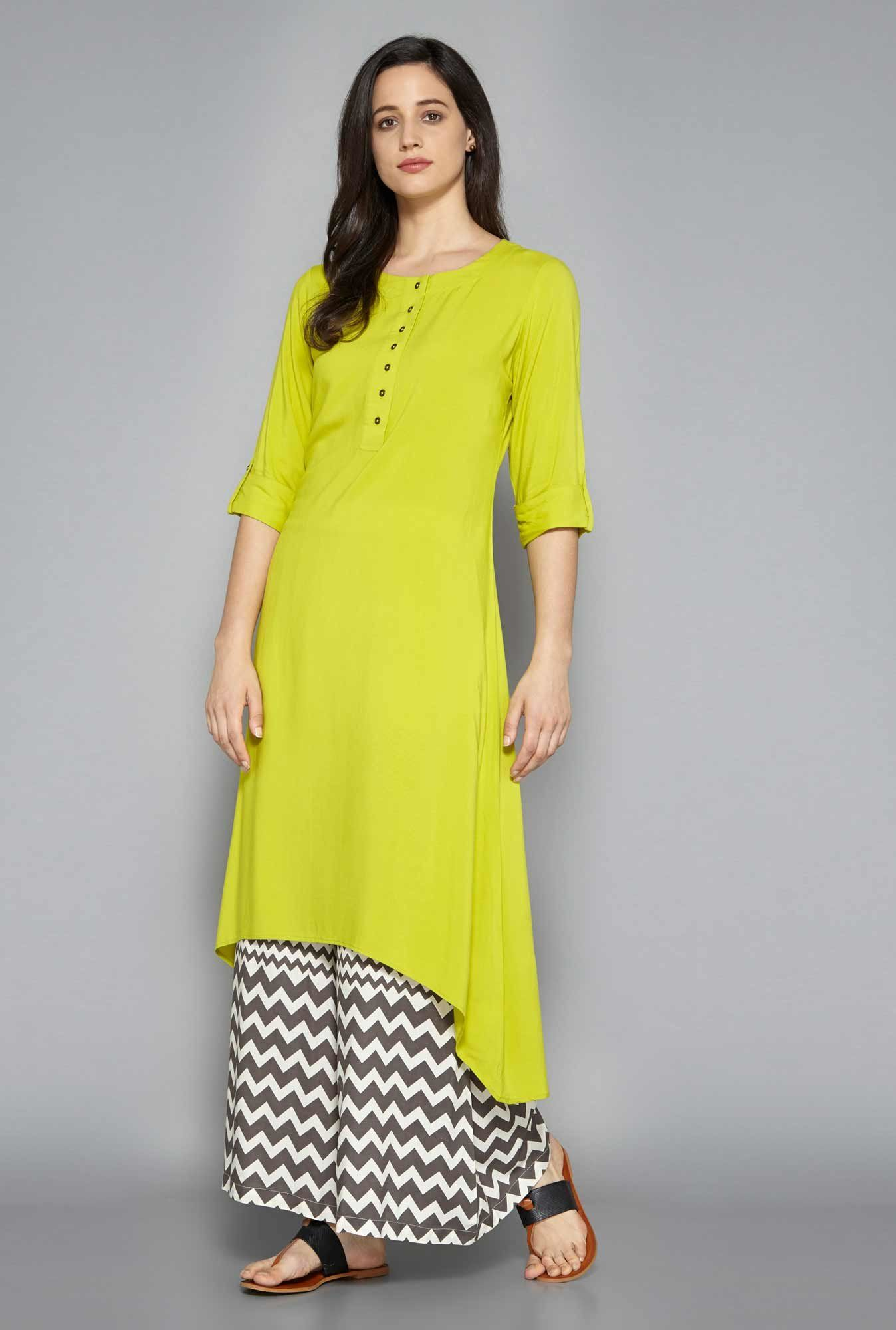 1cfd82d1c6848 New Indian Bollywood designer kurti Women Ethnic Party wear Dress  Pakistani. Utsa by Westside Lime Green Kurta