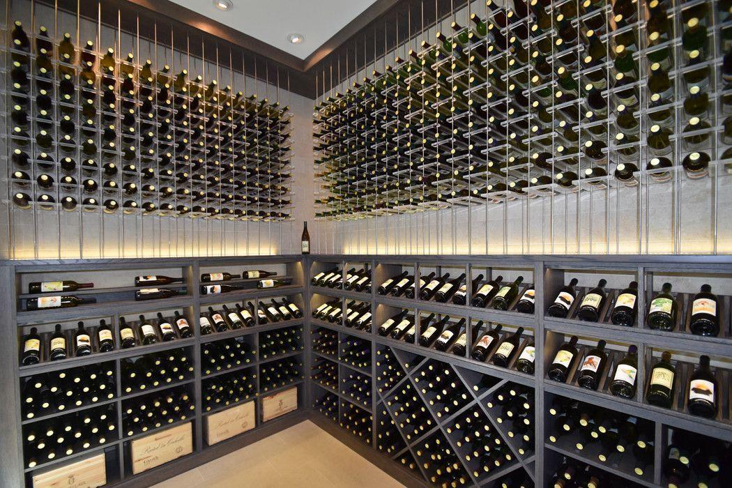 Ultra Modern Wine Cellar with Metal and Acrylic Racking