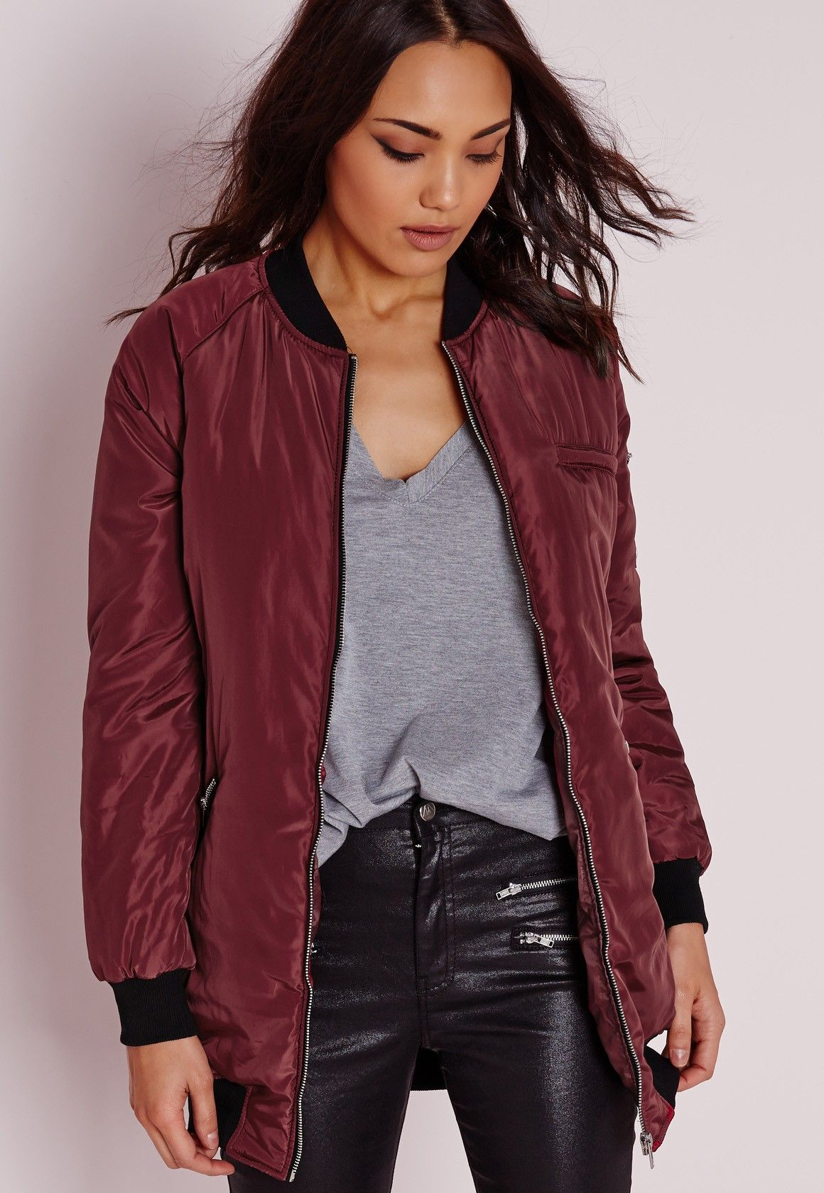 3ab195d7ac7 Missguided - Longline Padded Bomber Jacket Burgundy