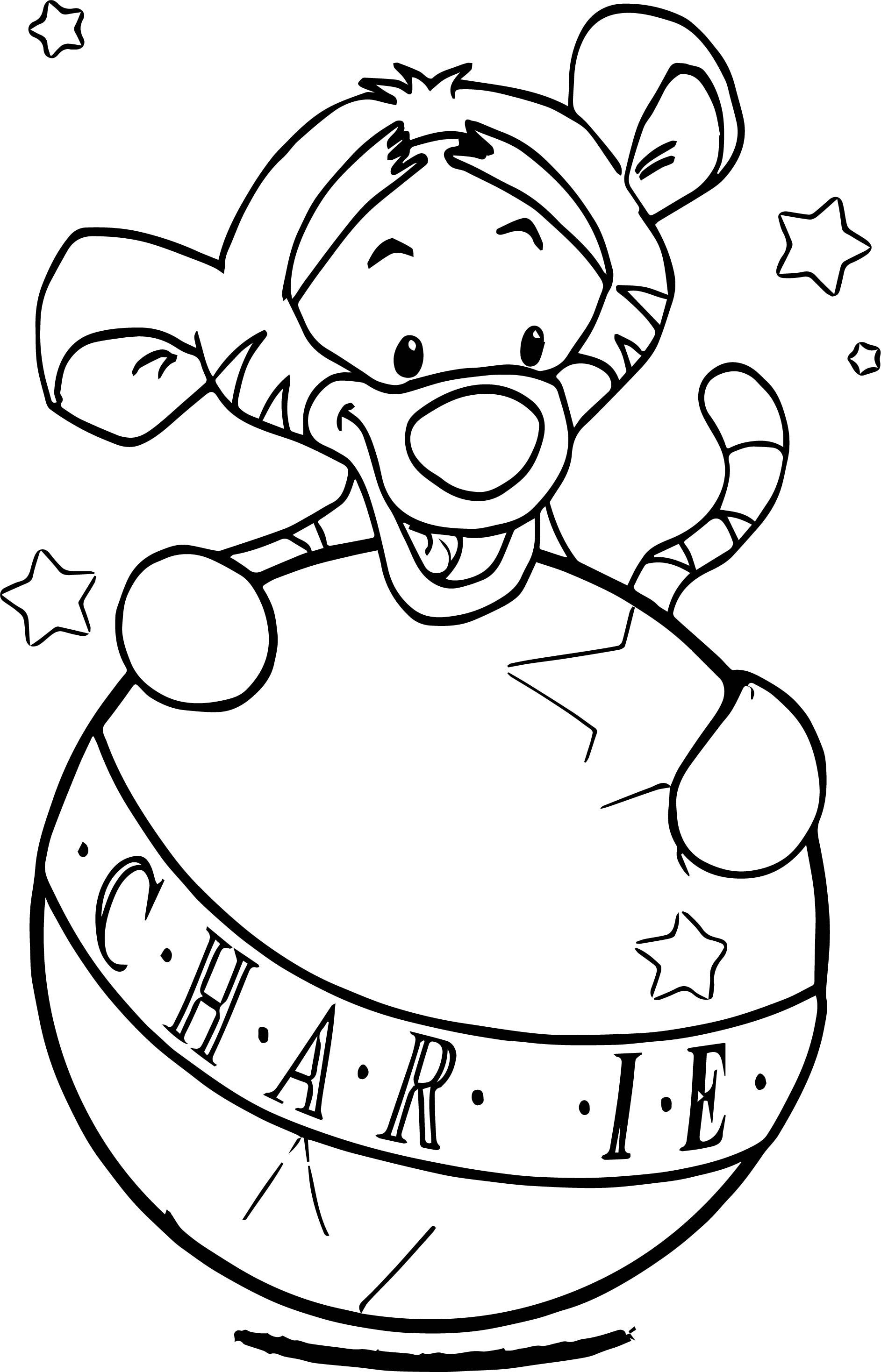 awesome Baby Tigger Char Ball Coloring Page Coloring