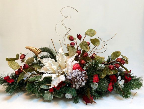 White Poinsettia Christmas Centerpiece Decor Table Décor Silk Flower Arrangement Holiday