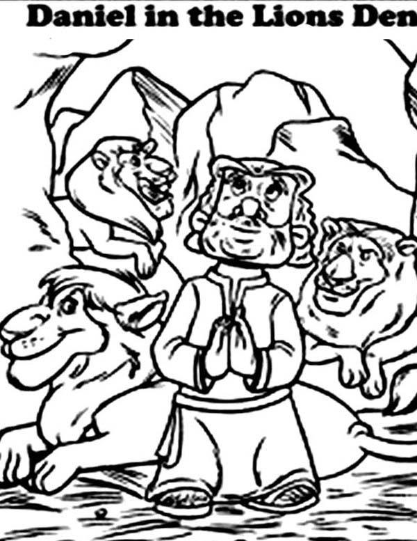 daniel praying facing jerusalem in daniel and the lions den coloring