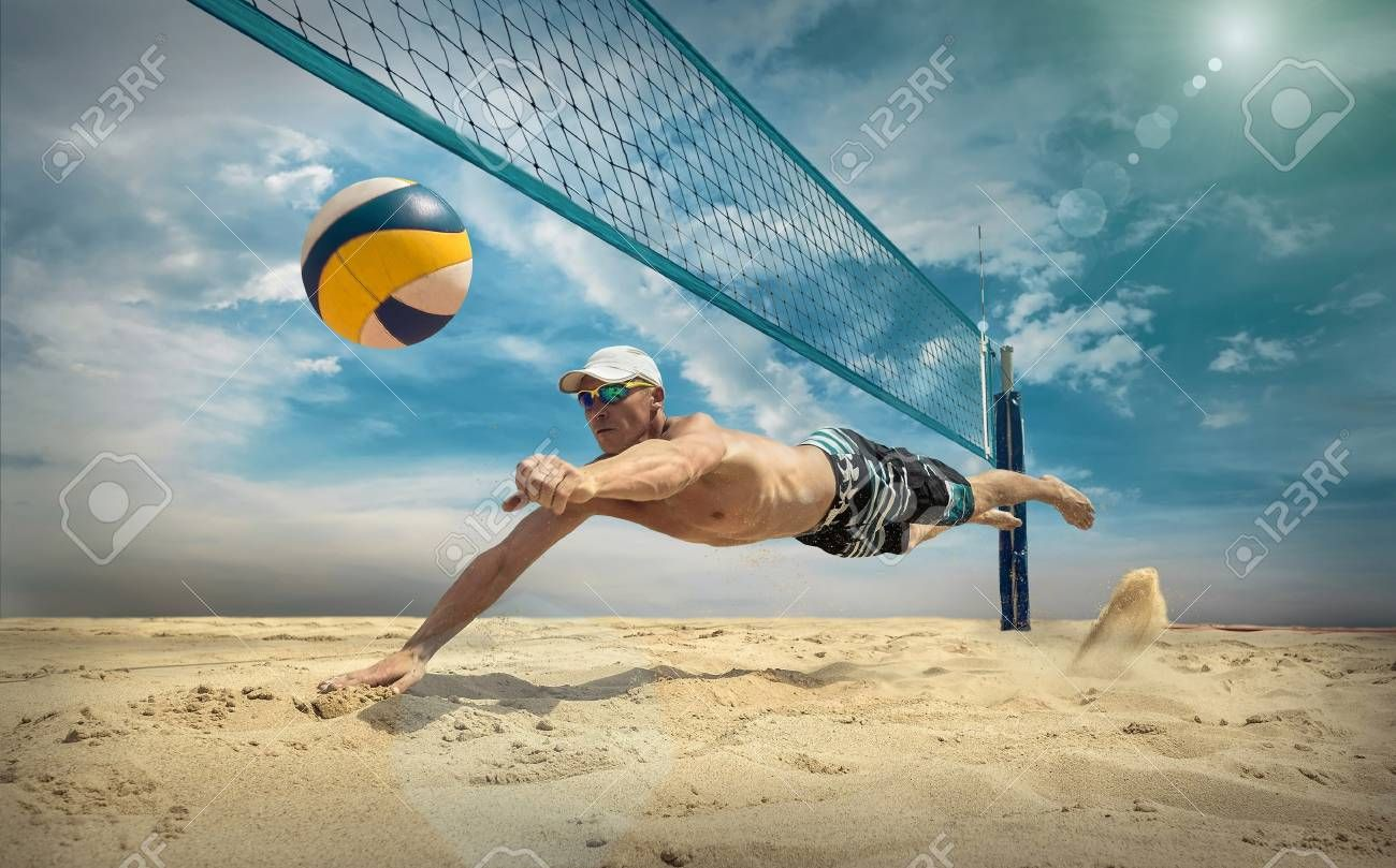 Beach Volleyball Player In Action At Sunny Day Under Blue Sky Stock Photo Sponsored Action Sunny Playe Beach Volleyball Volleyball Volleyball Players