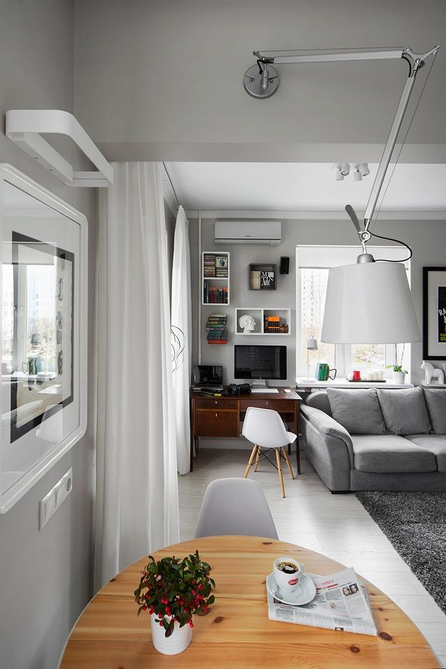 Compact Bachelor Studio with a Mix of Modern with Retro