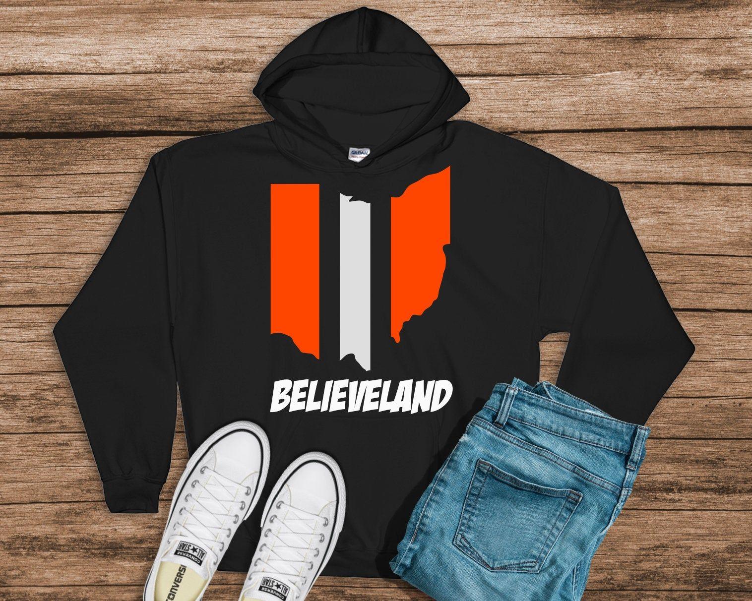Cleveland Browns Inspired Believeland Sweatshirt Browns Etsy Sweatshirts Brown Hoodie Hoodies [ 1212 x 1516 Pixel ]