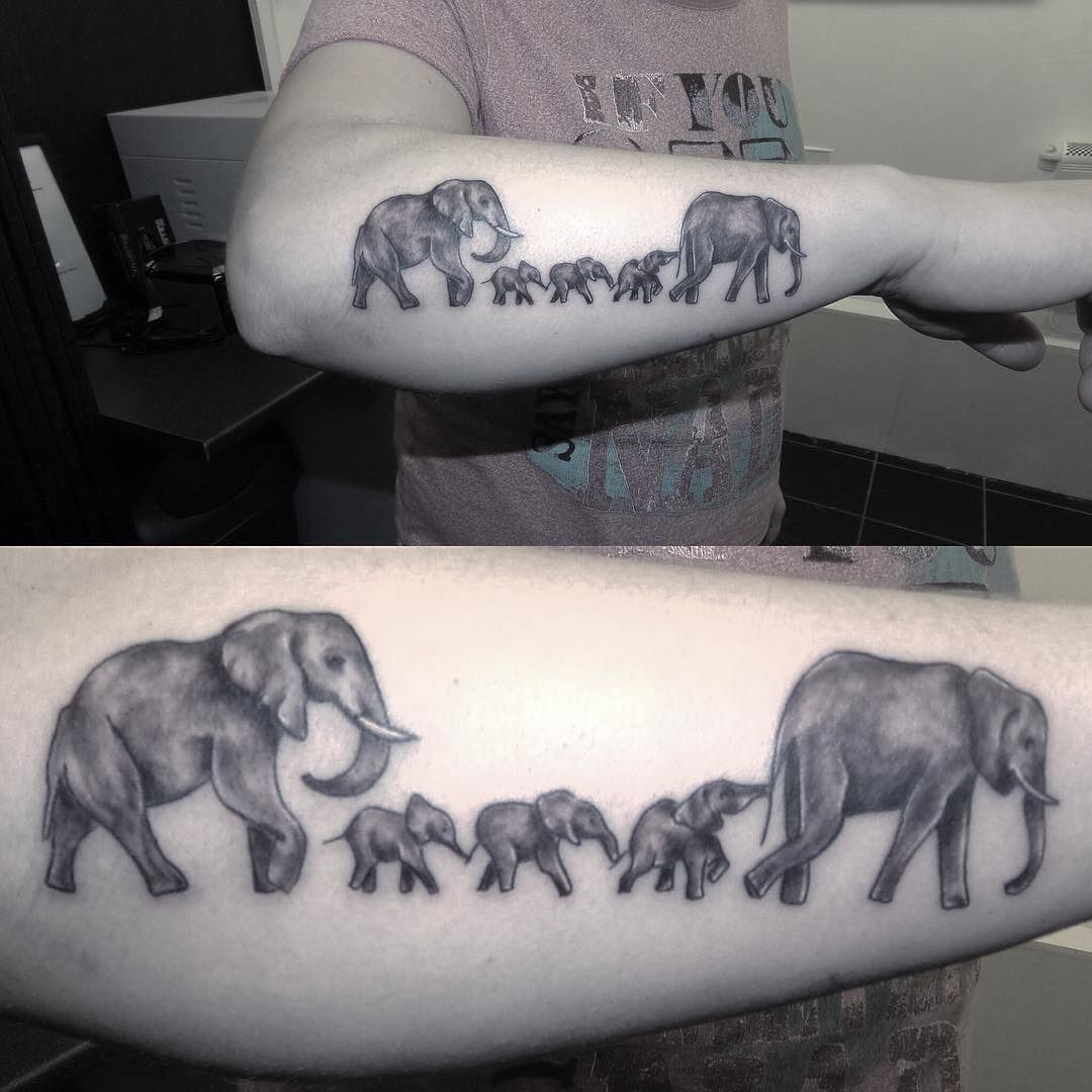 Follow and tag inkedmagz to get featured lil elephant for Elephant tattoo meaning family