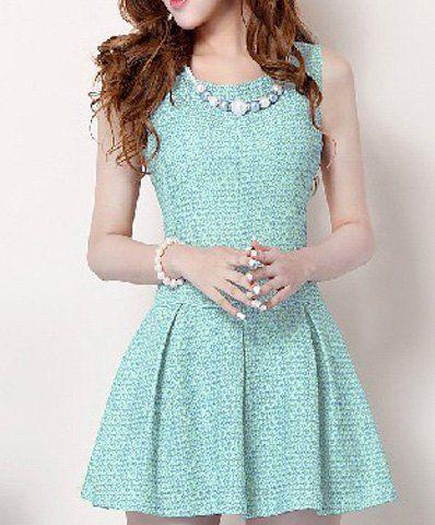 Cute Women's Jewel Neck Beaded Sleeveless Pleated Dress