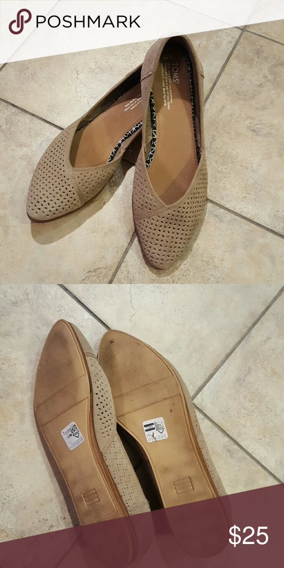 eca06c16810 Toms Jutti Flat Taupe suede perforated flats. Worn twice. TOMS Shoes Flats    Loafers