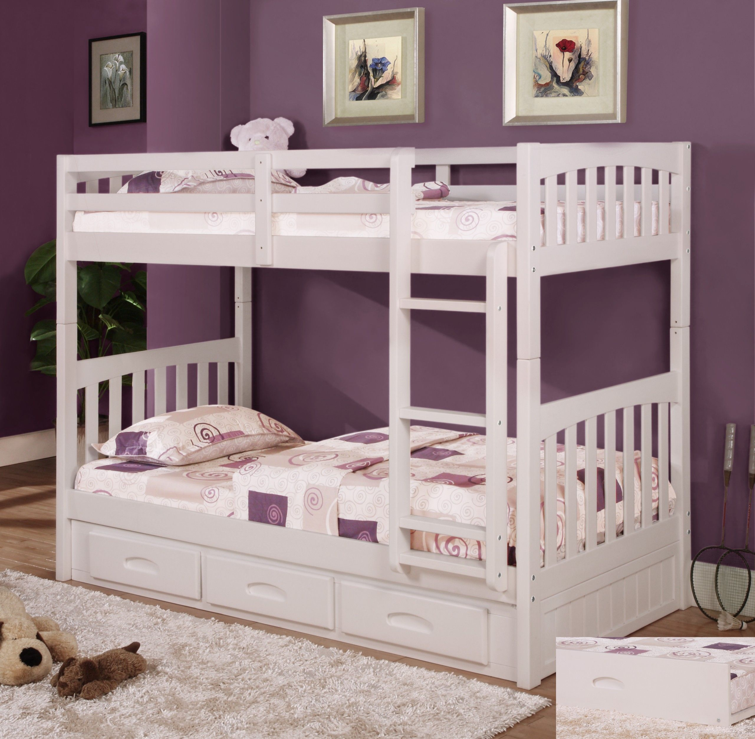 Best Discovery World Furniture Twin Over Twin White Mission 400 x 300