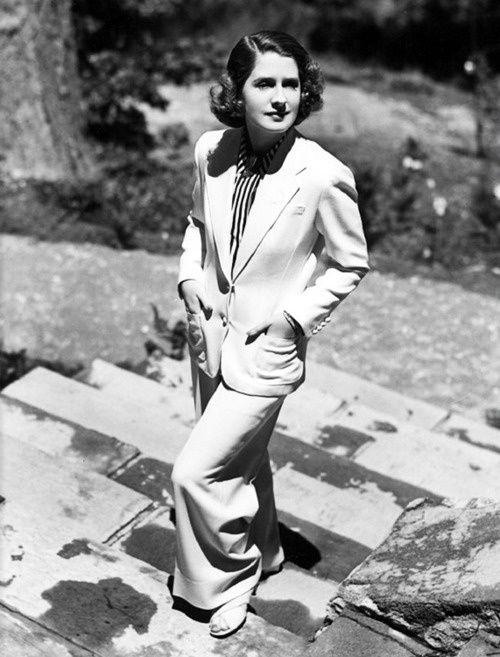 Norma shearer looking dapper in a suit, 1936.