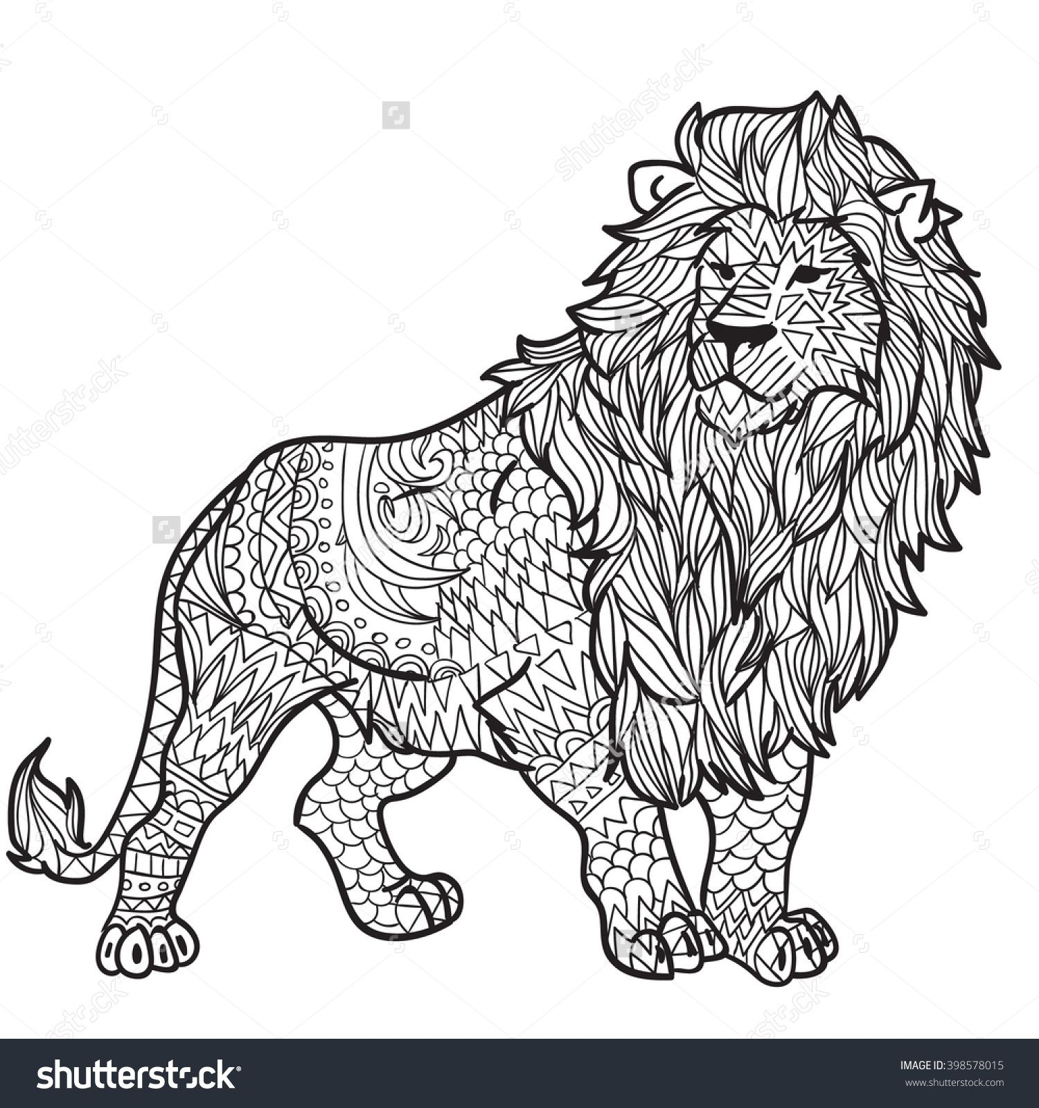 Lions coloring pictures - Hand Drawn Coloring Pages With Lion Zentangle Illustration For Adult Anti Stress Coloring Books Or