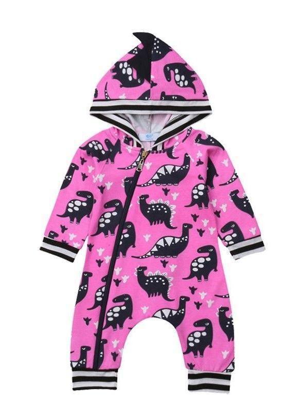 c76c66aa23e Pink Dinosaur Baby Girl Hooded Romper