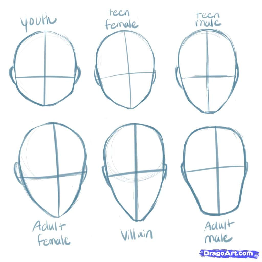 Anime Step By Step Drawing Head How To Draw Manga Heads Step By Step Anime Heads Anime Draw St Online Drawing Anime Drawings Tutorials Drawing Heads